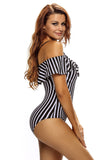 Plus Size Off-shoulder Stripy Swimsuit