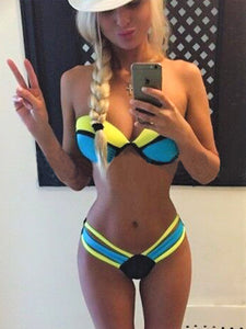 Blue Color Block Bikini Set - Let's Beach