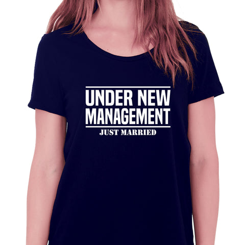 Under New Management Just Married T-shirt for Women - Let's Beach