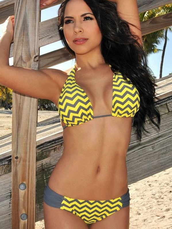 Yellow Gray Chevron Print Triangular Bikini