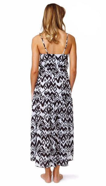 Black & White Chiffon Layers Dress - Let's Beach