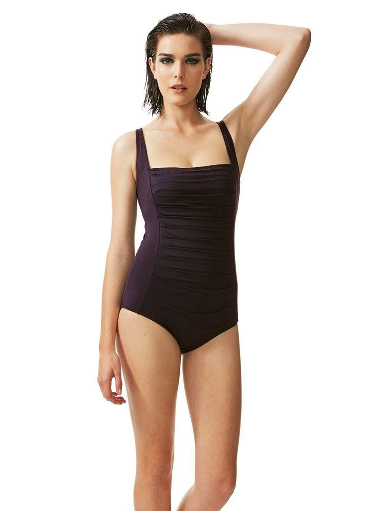 Slimming Effect Deep Purple Swimsuit-One-piece-Let's Beach