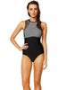 Mesh Up High Neck Suit-One-piece-Let's Beach