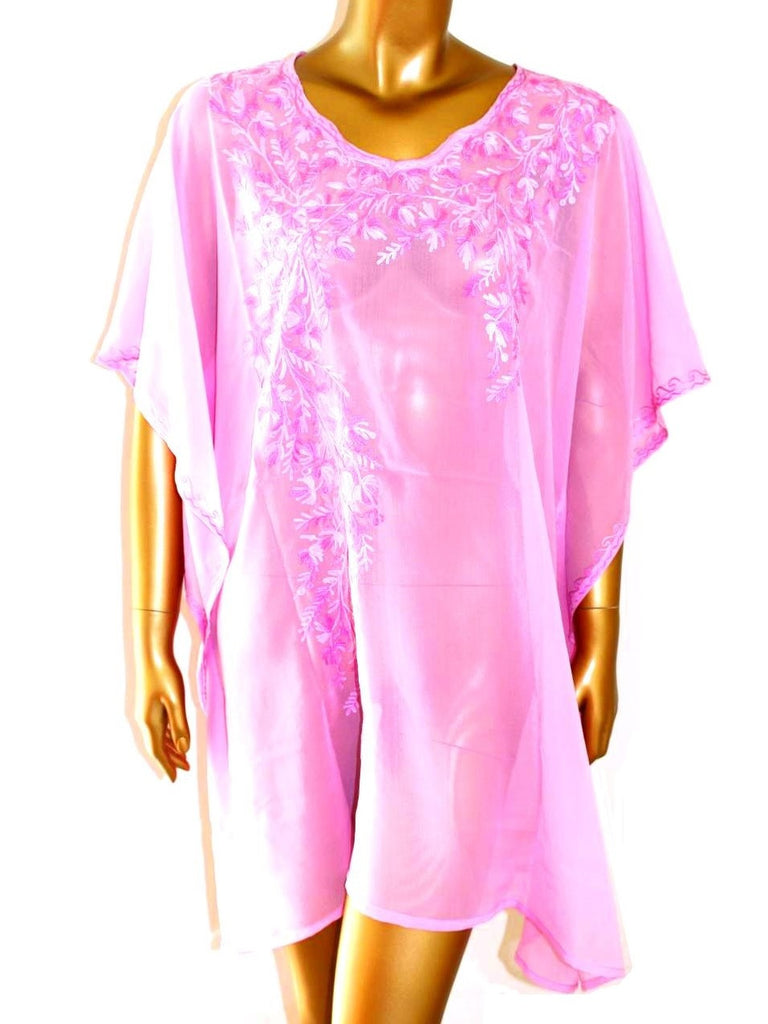 Pink Short Embroidered Kaftan - Let's Beach