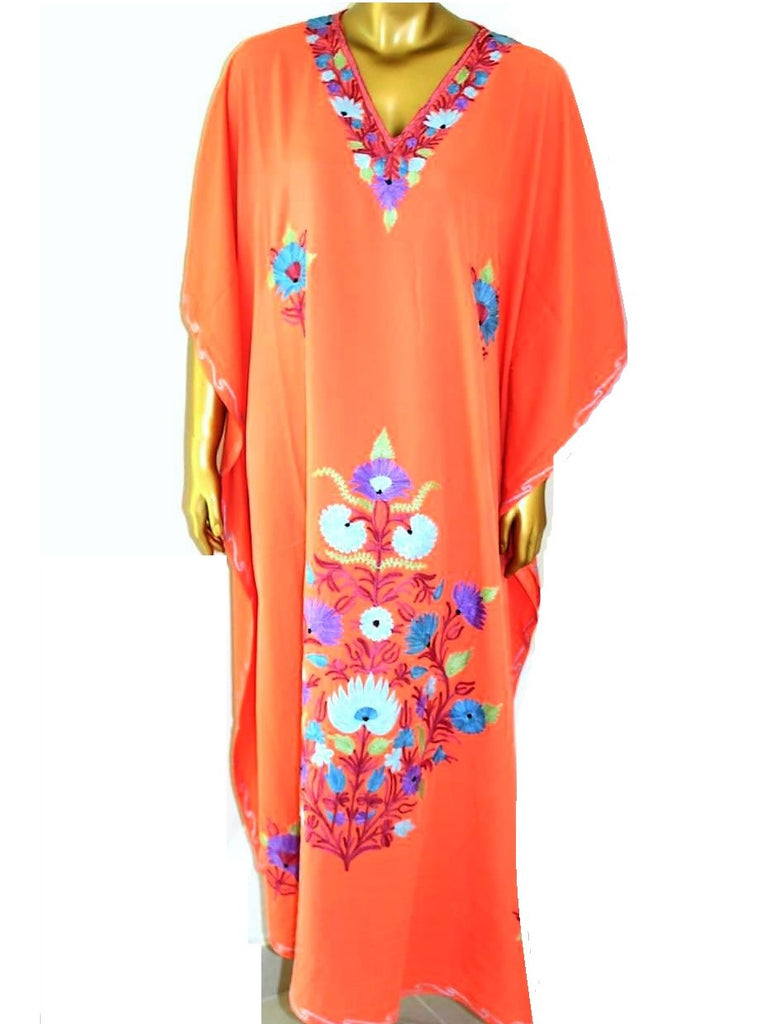 Orange Long Embroidered Kaftan - Let's Beach