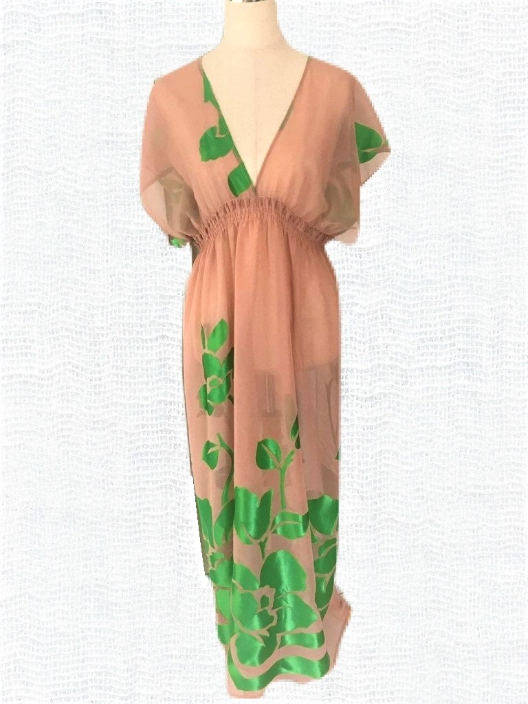 Beige Chiffon Kaftan-Beach Dress-Let's Beach