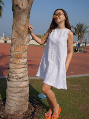 Pearl white Linen dress - Let's Beach