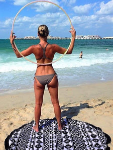 Aztec Black Round Beach Towel - Let's Beach