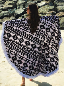 Aztec White Round Beach Towel - Let's Beach