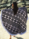 BeachBound DXB Towel Aztec White Round Beach Towel
