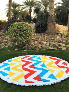Chevron Round Beach Towel - Let's Beach