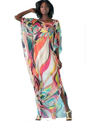 Long Colorful Chiffon Beach Kaftan - Let's Beach