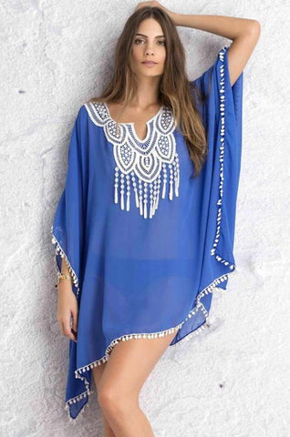 Blue Embellished Beach Kaftan - Let's Beach