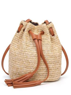 Straw Bucket Style Beach Bag - Let's Beach