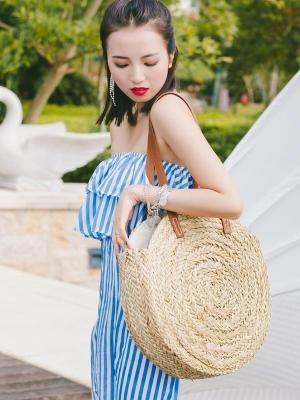 Big Round Straw Bag - Let's Beach