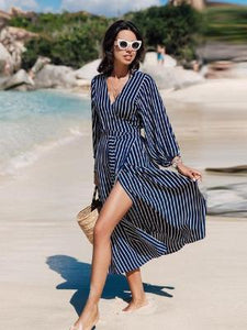 Stripy Wrap Around Beach Dress - Let's Beach