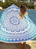 Blue Mandala Beach Blanket-Towel-Let's Beach