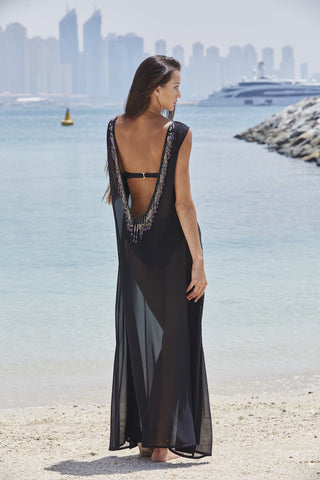 Black Laser Cut Tankini Swimsuit