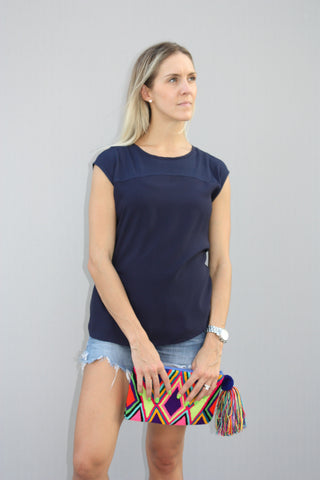 Dark Blue Chiffon Top
