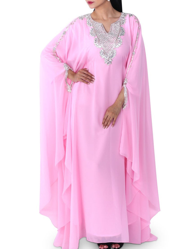 Pink V-Neck Jalabiya - Let's Beach
