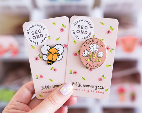 SECONDS Feminist Enamel Pins