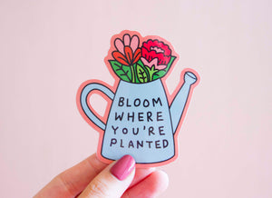 Bloom Enamel Pin- Bloom Where You're Planted Watering Can Floral Bouquet Flowers Feminist Gift Girl Power Bachelorette Gift Bridesmaid Gift