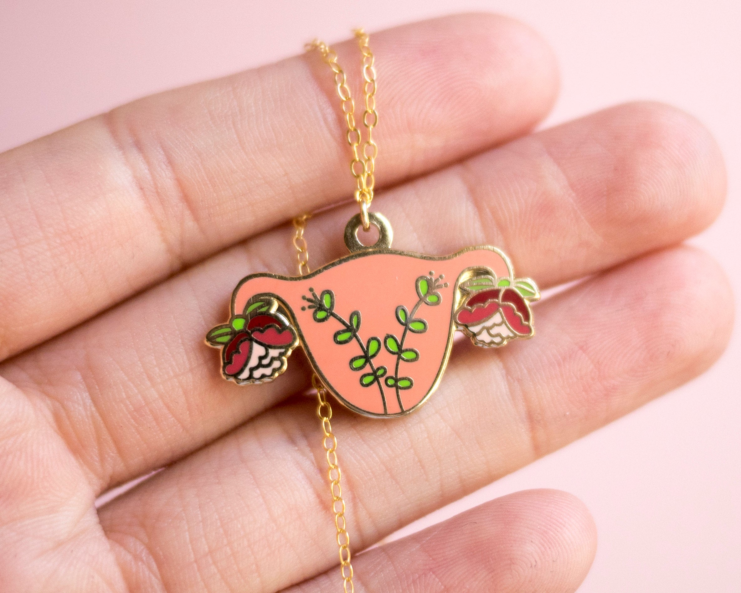 Uterus Charm Necklace Feminist Enamel Jewelry- Gold Blooming Uterus Feminist Gift Cuterus Women' Rights Reproductive Rights Girl Power Art