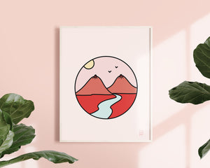 Feminist Landscape Art Print- Desert Mountain Landscape Illustration Inspirational Motivational Self Affirming Print