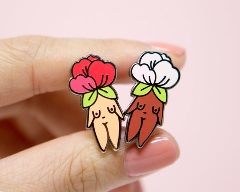 Feminist Enamel Pin Flower Girl-  Body Positive Bachelorette Gift Feminist Gift Feminist Art Girl Power Art