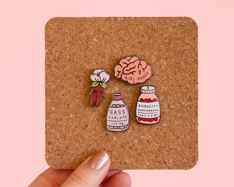 Girl Power Enamel Pin- Feminist Lapel Pin Pink Glitter Brain Enamel Pin Glittery Pink Accessories Empowering Women
