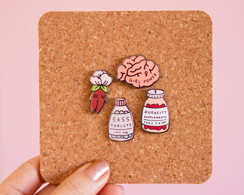 Sass Tablets Enamel Pin- Feminist Enamel Pin Gift Girl Power Empowering Women Funny Cute Pink Enamel Pin