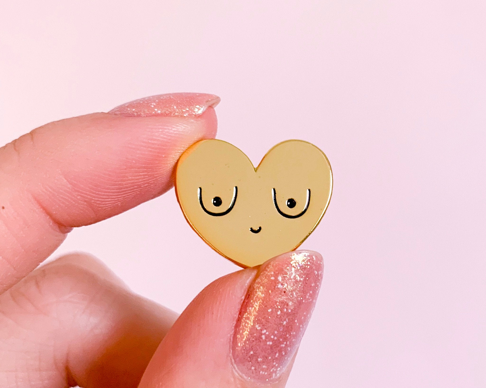 Feminist Enamel Pin Gold Boobs-  Feminist Gift Breasts Bachelorette Gift Women' Rights Reproductive Rights Girl Power Art