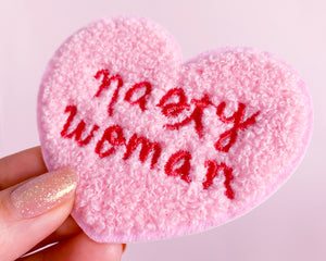 Nasty Woman Patch- Iron on Embroidered Patch Feminist Pink Chenille Heart
