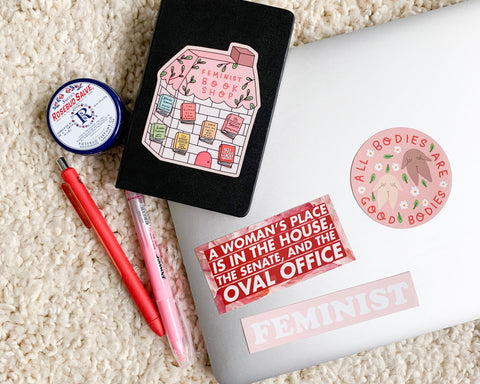 "Body Positivity Sticker-  Feminist Vinyl Sticker ""All Bodies Are Good Bodies"" Cute Illustrated Pink Planner Sticker Laptop Sticker"