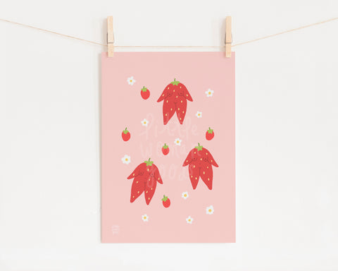 Strawberry Girls Art Print- Feminist Illustration Cute Pink Wall Art Floral Digital Illustration Fine Art