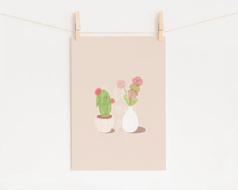 Feminist Art Print- Succulents Plant Lady Art Print Illustrated Potted Plants Flowers Cactus Succulents Minimalist Wall Art