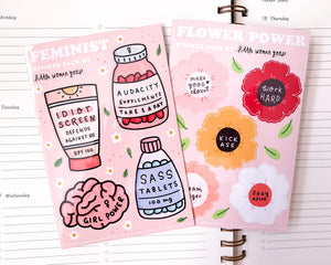 Girl Power Sticker Sheet-Feminist Vinyl Stickers Feminist Planner Stickers Laptop Stickers Waterbottle Stickers Girl Power Gift