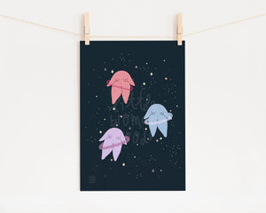 Outer Space Art Print- Feminist Illustration Cute Planets Stars Minimalist Night Wall Art Floral Digital Illustration Fine Art