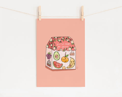 Feminist Art Print- Fruits and Veggies Shop Illustration Building Illustration Building Wall Art Feminist Gift Cute