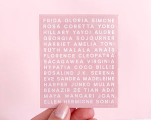 Feminist Heroes Sticker- Waterproof Vinyl Sticker Pink Graphic Text Women Who Changed History Inspirational Motivational Decal