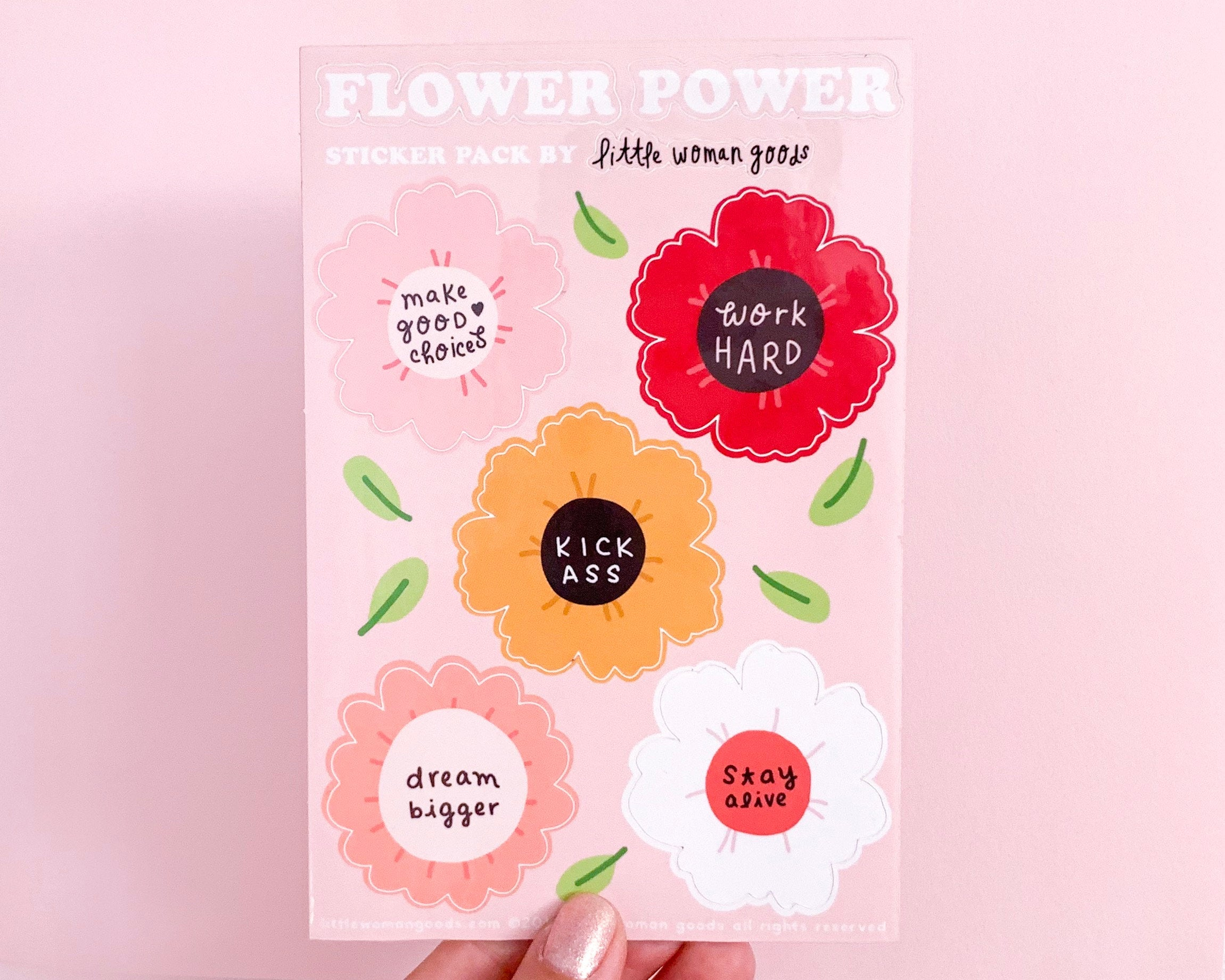 Flower Power Sticker Sheet-Feminist Vinyl Stickers Motivational Inspirational Planner Stickers Laptop Stickers Waterbottle Stickers