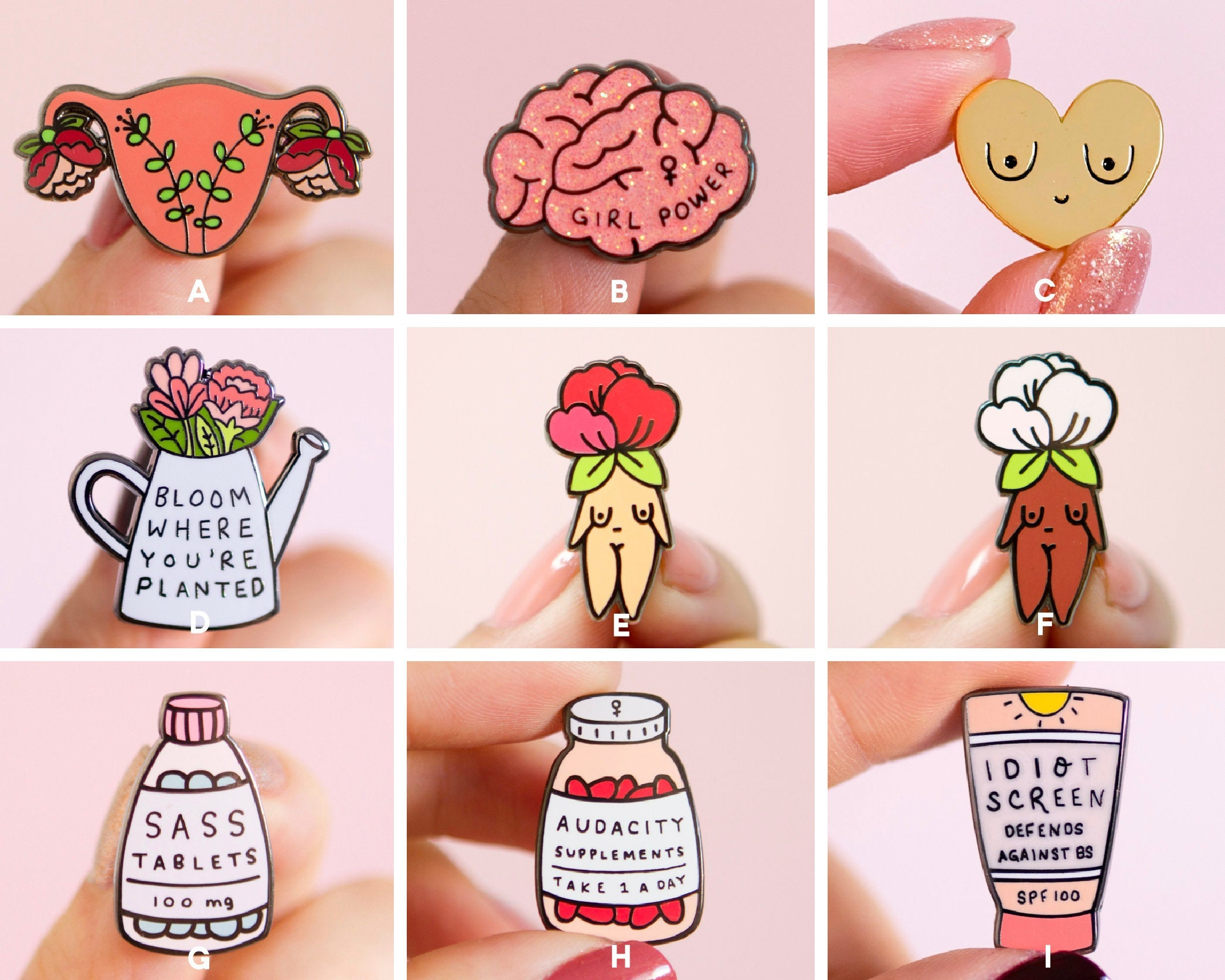 Feminist Enamel Pin Set- Feminist Gift Cute Enamel Pins Garden Flowers Feminist Gift Girl Power Art Gifts for Girls Presents