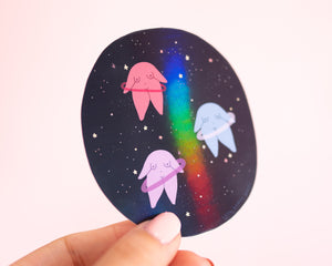 Outer Space Feminist Stickers- Holographic Vinyl Stickers Weatherproof Laptop Stickers Planner Stickers Celestial Galaxy Planets Star