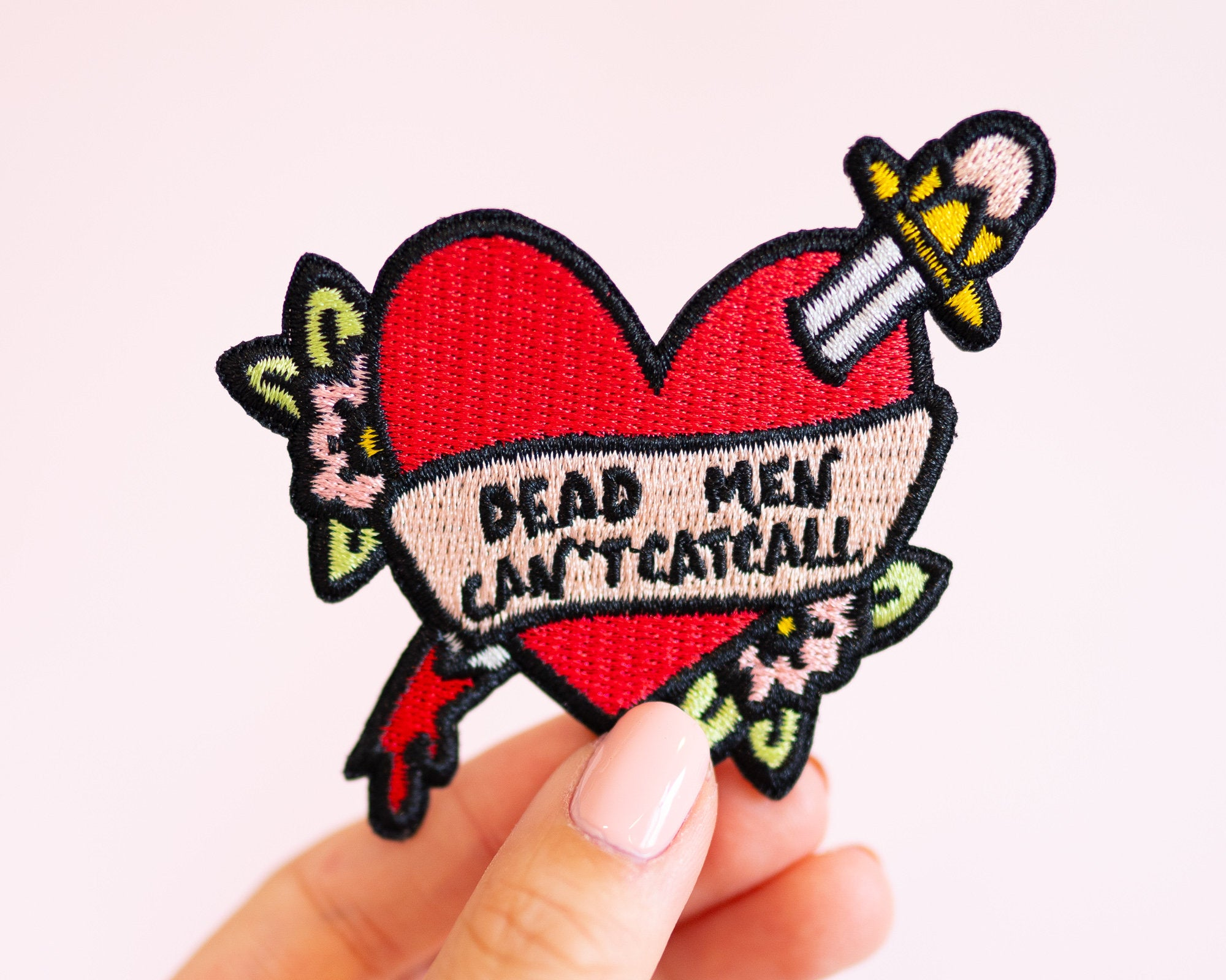 "Feminist Patch- Iron on Embroidered Patch ""Dead Men Can't Catcall"" Cute Floral Accessories Girl Power"