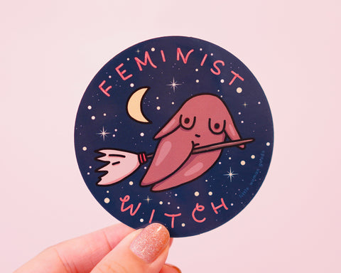 Feminist Witch Sticker Vinyl- Halloween Design Moon Stars Astrology Constellations Witch Waterproof Dishwasher-Safe Vinyl Sticker