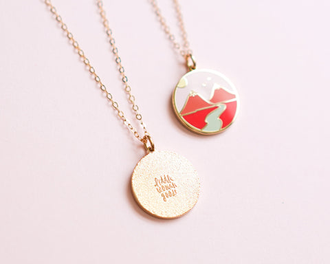 Feminist Charm Necklace Boob Mountains- Enamel Jewelry- Gold Feminist Gift Women' Rights Reproductive Rights Girl Power Art