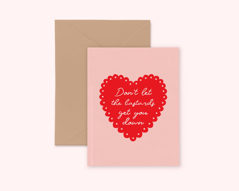 "Feminist Greeting Card- ""Don't Let the Bastards Get You Down"" Illustrated Cute Pink Greeting Card A2 Kraft Paper Funny"