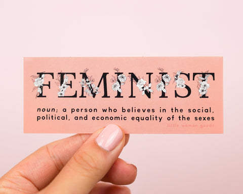 "Feminist Vinyl Sticker Definition- ""A person who believes in the equality of the sexes"" Pink Waterproof Sticker Waterbottle Laptop Car Decal"