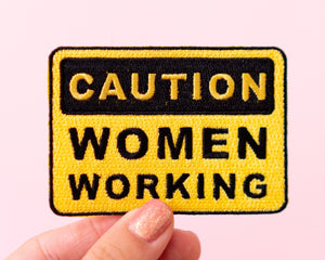 "Feminist Patch- Iron on Embroidered Patch ""Caution Women Working"" Funny Cute Floral Accessories Girl Power"