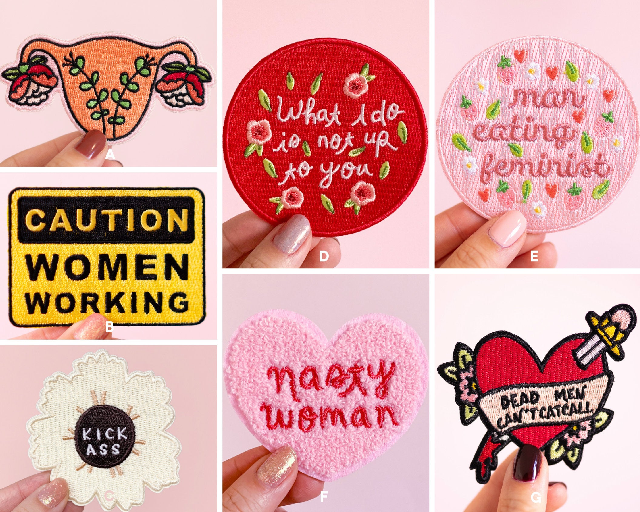 Iron-on Patch Set- Feminist Embroidered Patches for Denim Jackets, Feminist Gifts, Bachelorette Present Empowering Women Cute Pink